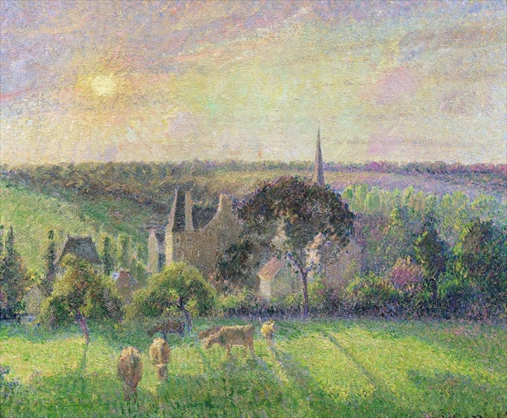 Detail of The Church and Farm of Eragny by Camille Pissarro