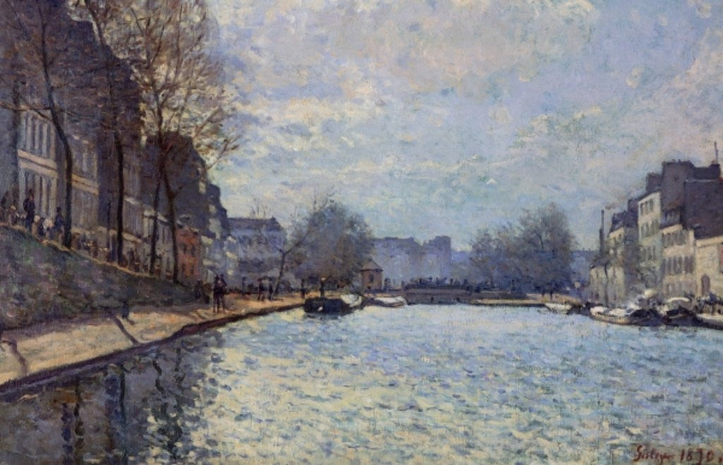 Detail of View of the Canal Saint-Martin, Paris by Alfred Sisley