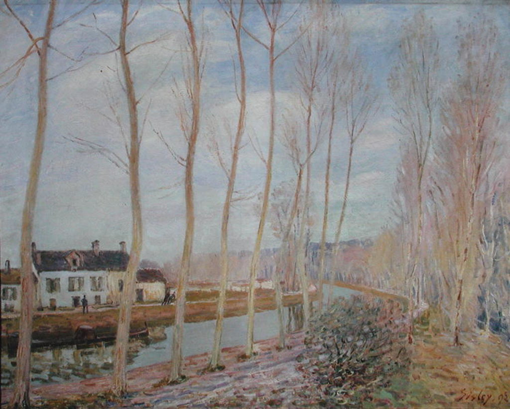 Detail of The Loing Canal by Alfred Sisley