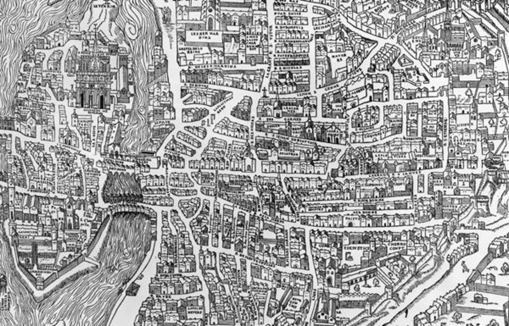 Detail of Detail from a map of Paris in the reign of Henri II showing the quartier des Ecoles by French School