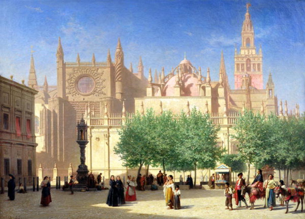 Detail of The Cathedral of Seville by Achille Zo