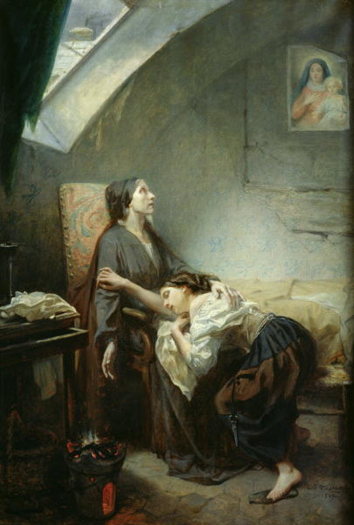 Detail of The Poverty-Stricken Family, or The Suicide by Octave Tassaert