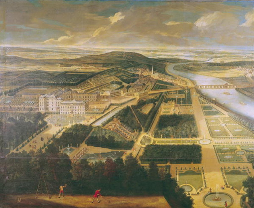 Detail of View of the Chateau and Gardens of St. Cloud by Etienne Allegrain