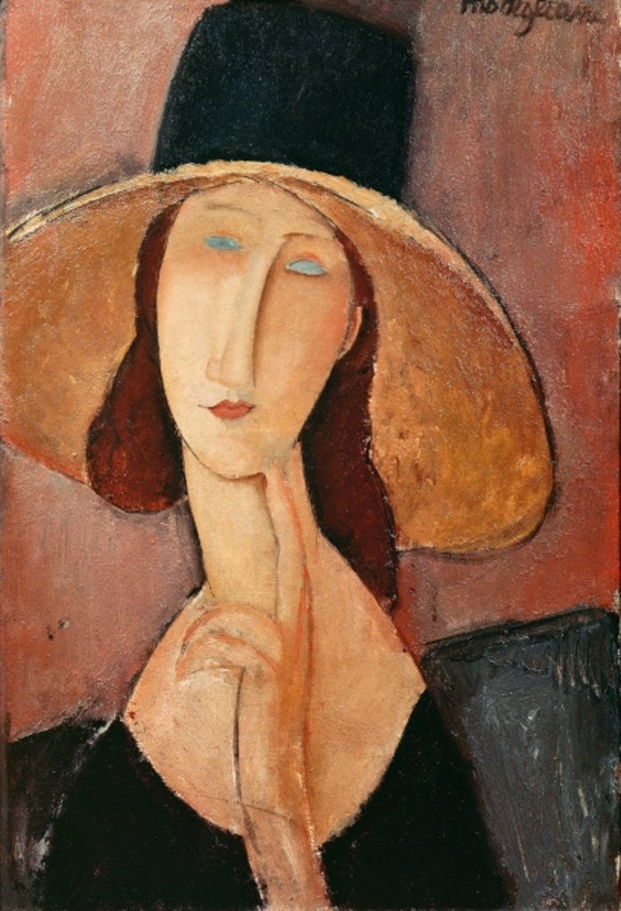 Detail of Portrait of Jeanne Hebuterne in a large hat by Amedeo Modigliani