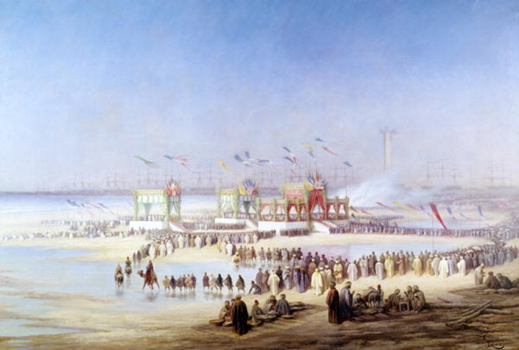 Detail of The Inauguration of the Suez Canal by the Empress Eugenie by Edouard Riou