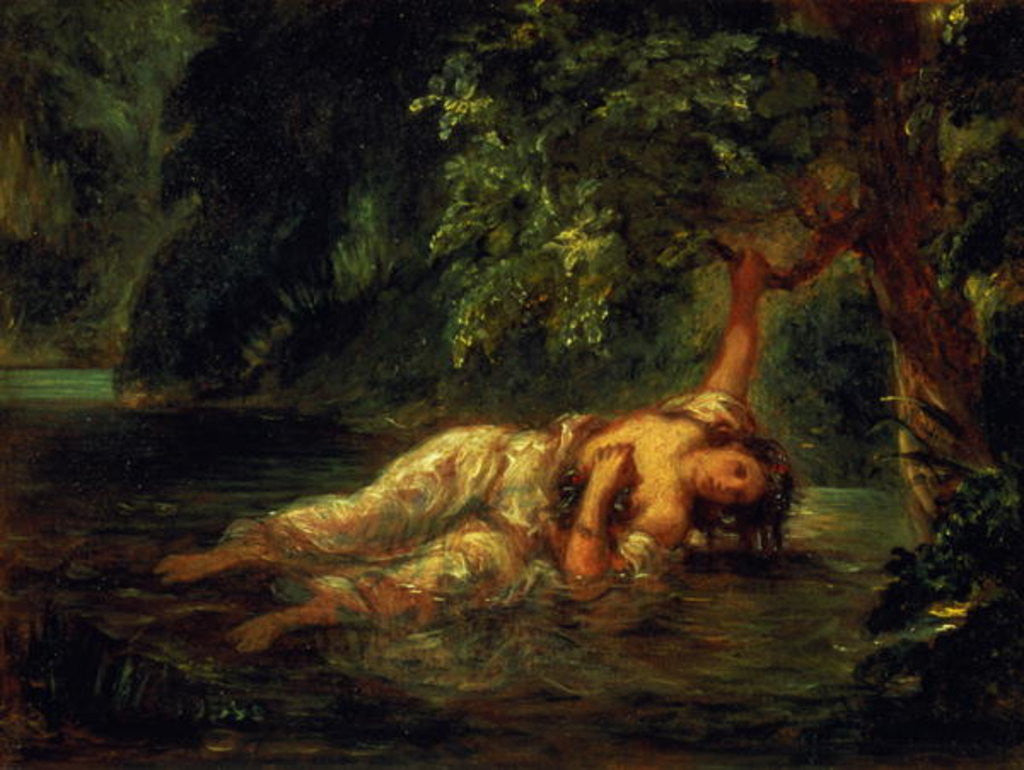 Detail of The Death of Ophelia by Ferdinand Victor Eugene Delacroix