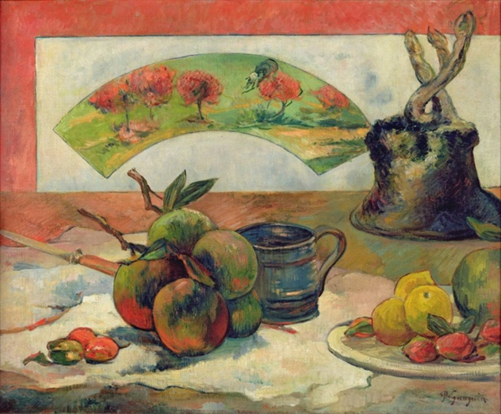 Detail of Still Life with a Fan by Paul Gauguin