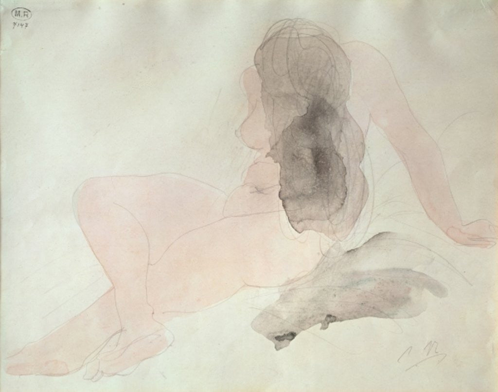 Detail of Seated Nude with Dishevelled Hair by Auguste Rodin