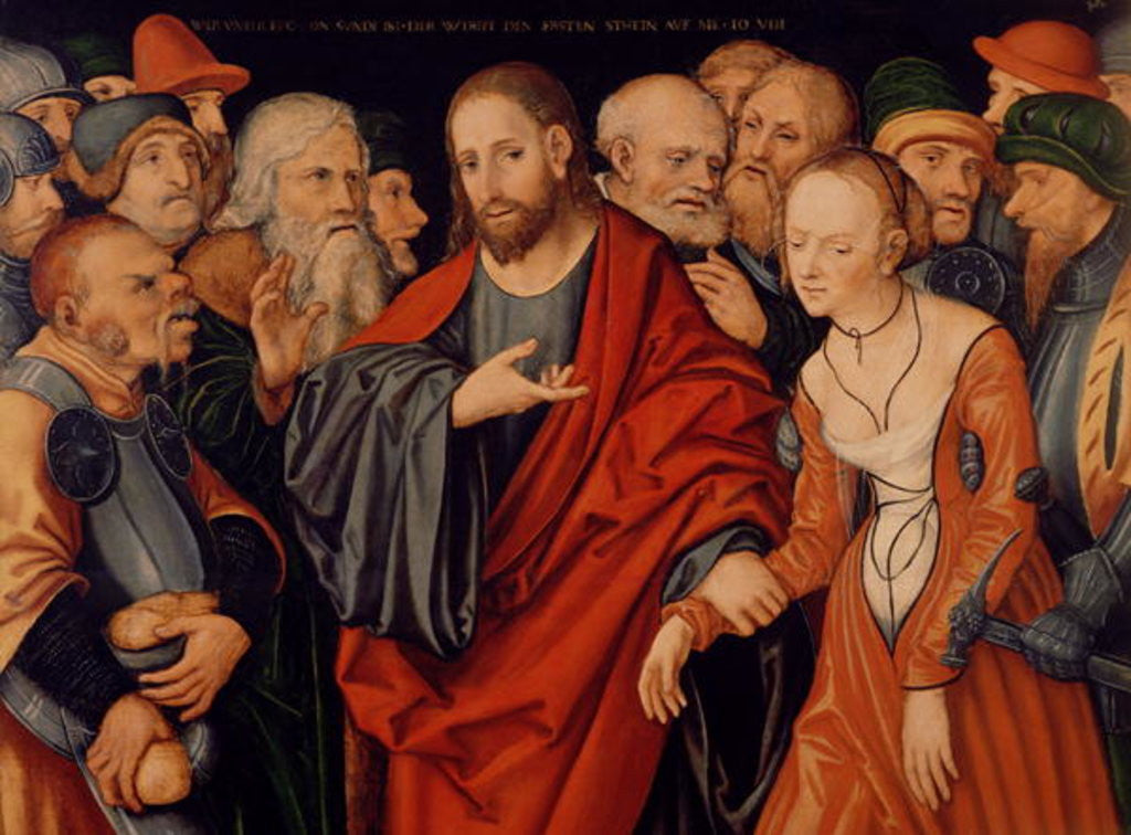 Detail of Christ and the Woman taken in Adultery by Lucas