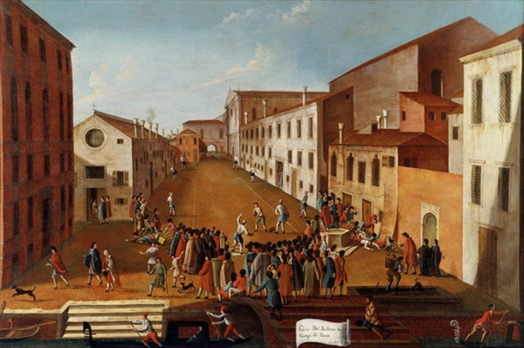 Detail of Game of Bowls in the Campo dei Gesuiti, Venice by Gabriele Bella