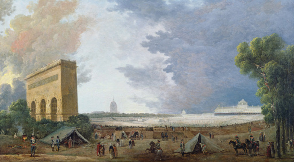 Detail of Fête de la Fédération on the Champ de Mars by Hubert Robert