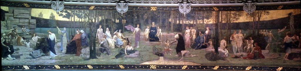 Detail of The Sacred Wood, mural in the Grand Amphitheatre depicting allegorical figures of the Sorbonne, Eloquence, Poetry, Philosophy, History, Botany, Geology, Physics and Geometry by Pierre Puvis de Chavannes