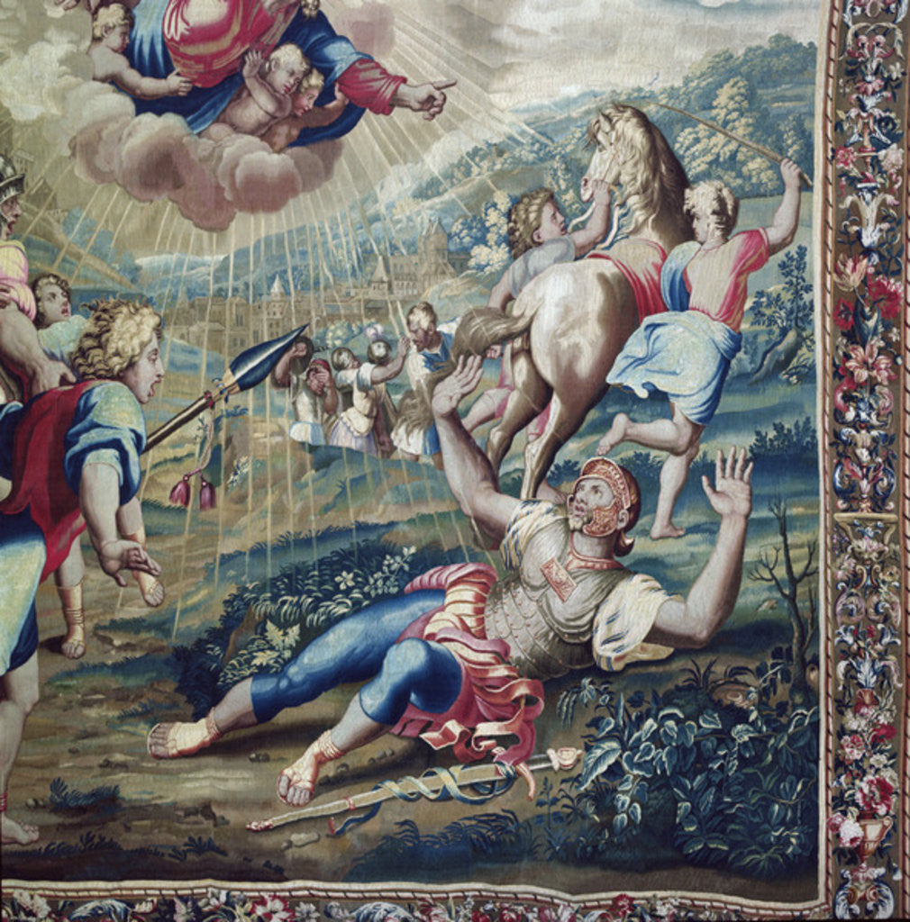 Detail of Tapestry depicting the Acts of the Apostles, the Conversion Saint Paul (detail of Saint Paul stretched out on the floor, arms raised to the sky) by Raphael
