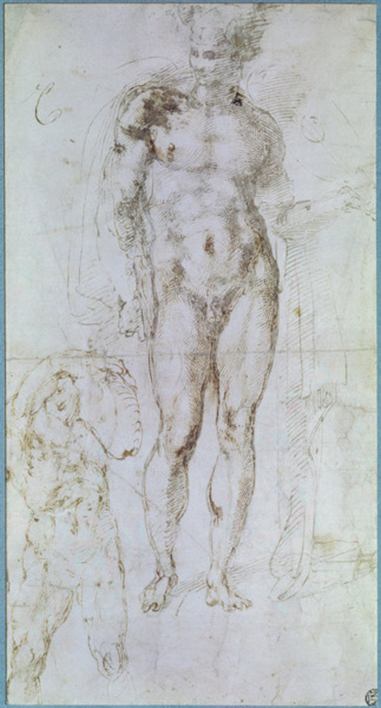 Detail of Study for Apollo standing nude with a cloak draped over his shoulders and the figure of a man carrying a burden by Michelangelo Buonarroti