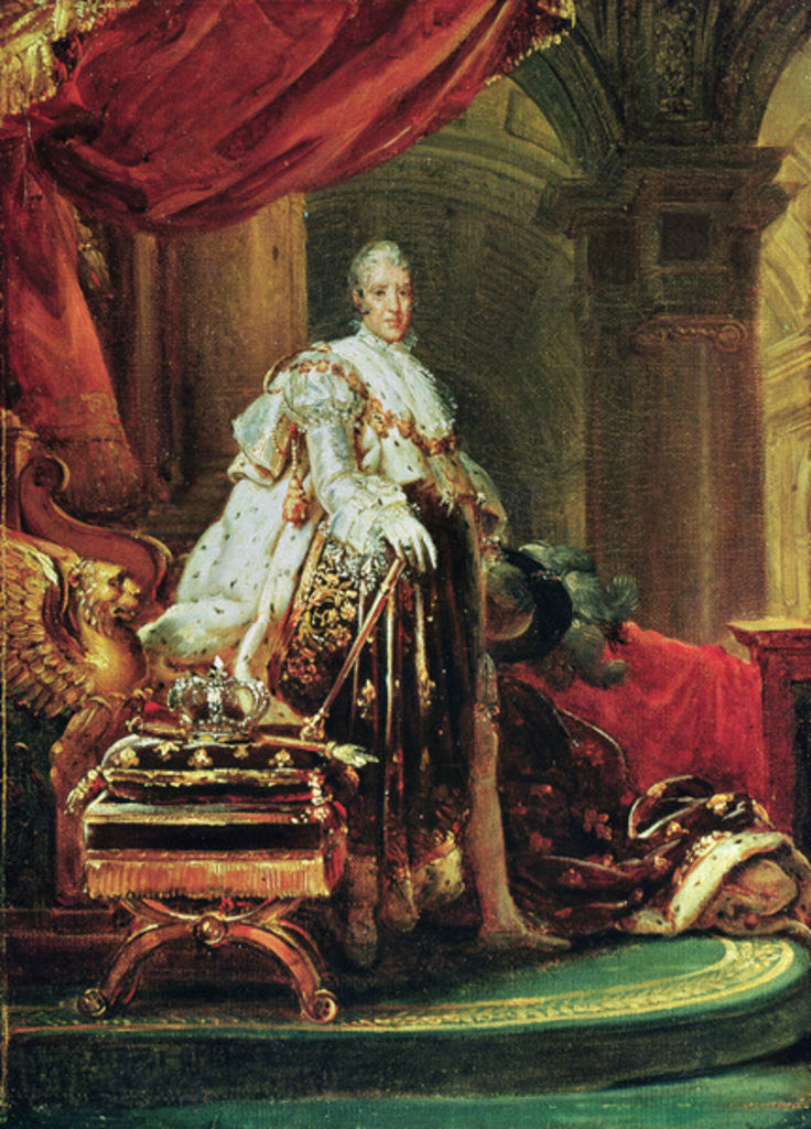 Detail of Full-length Portrait of Charles X, King of France and Navarre by Francois Pascal Simon