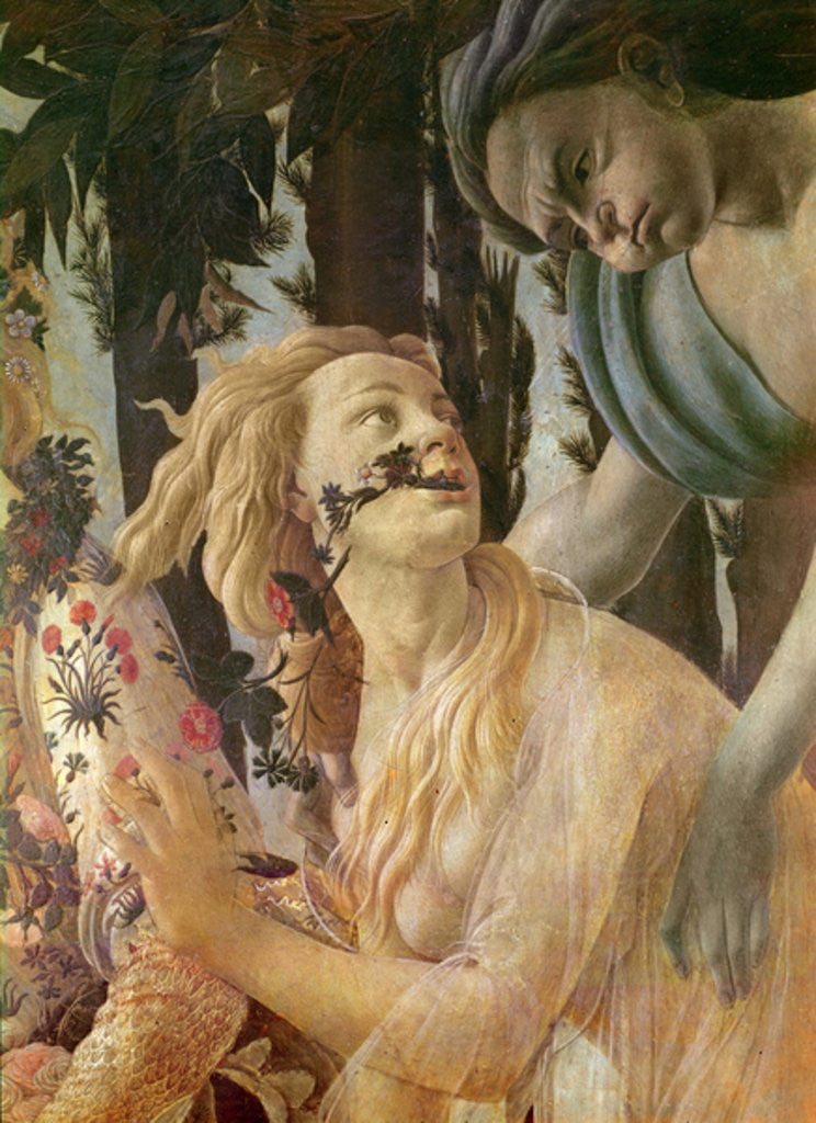 Detail of Allegory of Spring, detail of the heads of Zephyr and Flora by Sandro Botticelli
