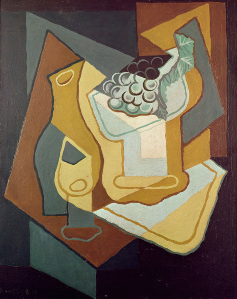 Detail of Bottle, Glass and Fruit Dish by Juan Gris