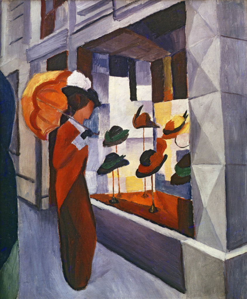 Detail of In front of the Hat Shop by August Macke