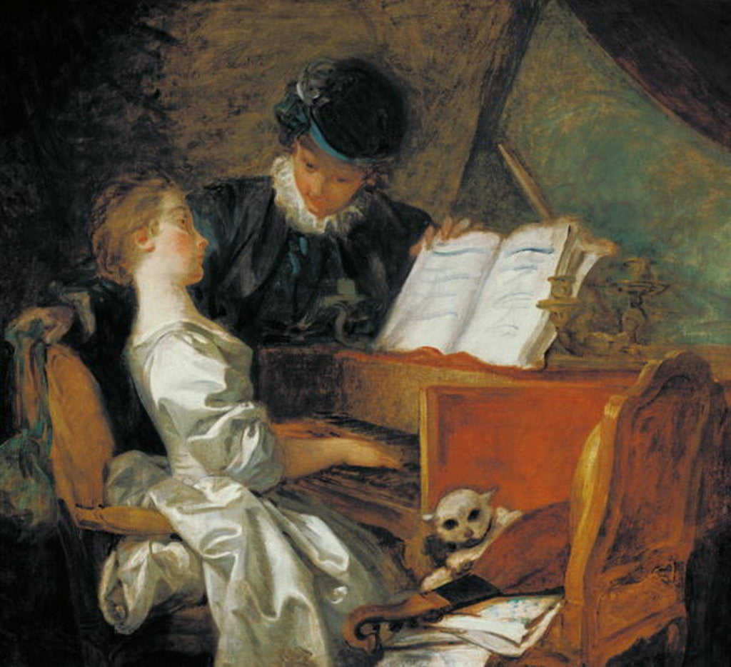 Detail of The Music Lesson by Jean-Honore Fragonard