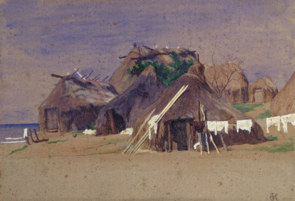 Detail of Fishermen's huts on the coast by Antoine Auguste Ernest Herbert or Hebert