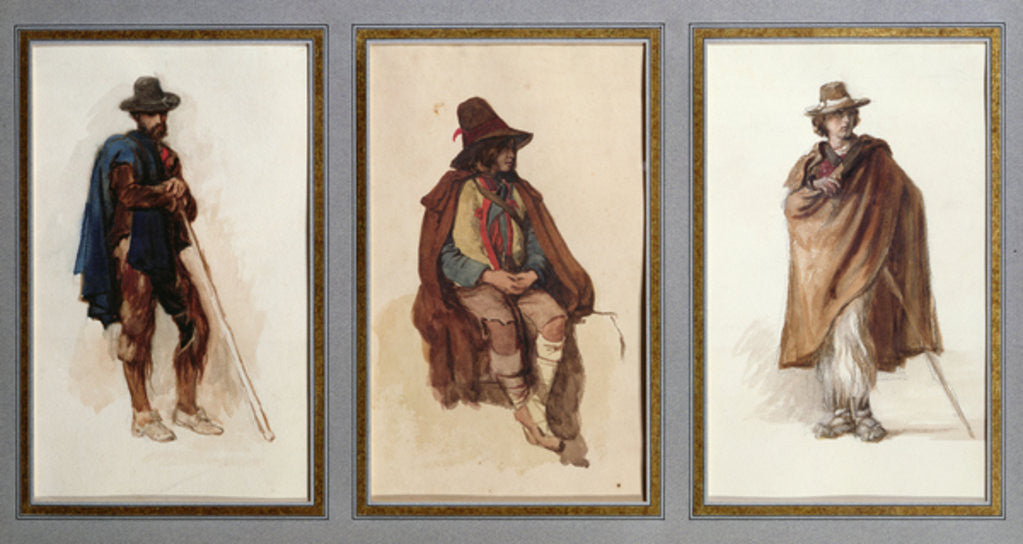 Detail of Three types of Ciociari shepherds by Antoine Auguste Ernest Herbert or Hebert