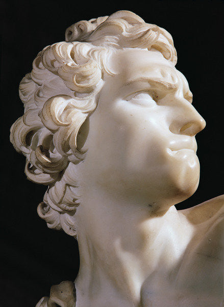 Detail of David (detail of the head, right profile) by Gian Lorenzo Bernini