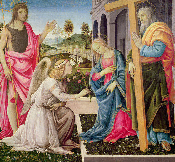 Detail of Annunciation with St. Joseph and St. John the Baptist by Filippino Lippi
