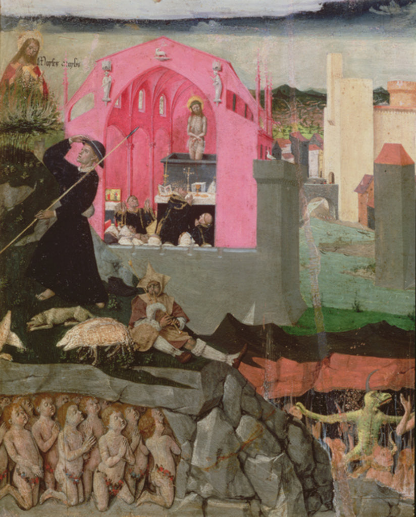 Detail of Mass of St Gregory the Great, Moses, resurrection of the dead by Enguerrand Quarton