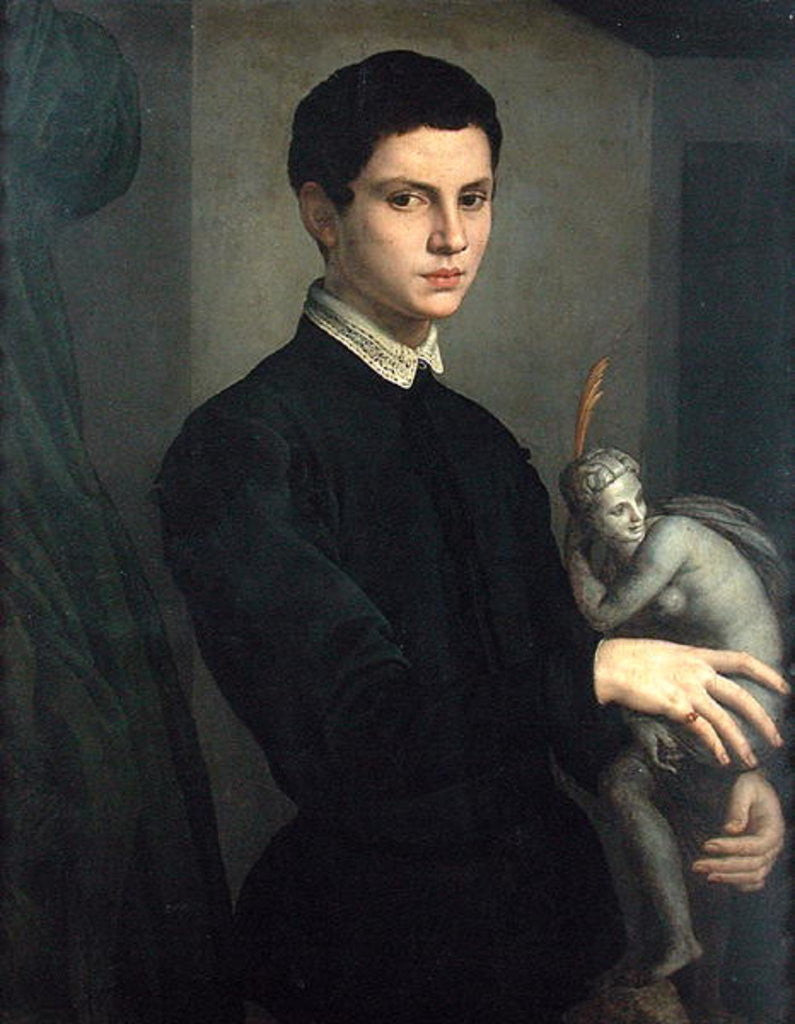 Detail of Portrait of a Sculptor, possibly Baccio Bandinelli by Agnolo Bronzino