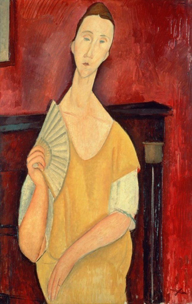 Detail of Woman with a Fan (Lunia Czechowska) by Amedeo Modigliani