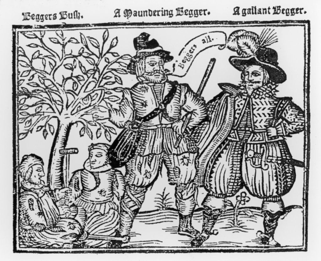 Detail of Beggars All: Beggars Bush, a Wandering Beggar and a Gallant Beggar by English School