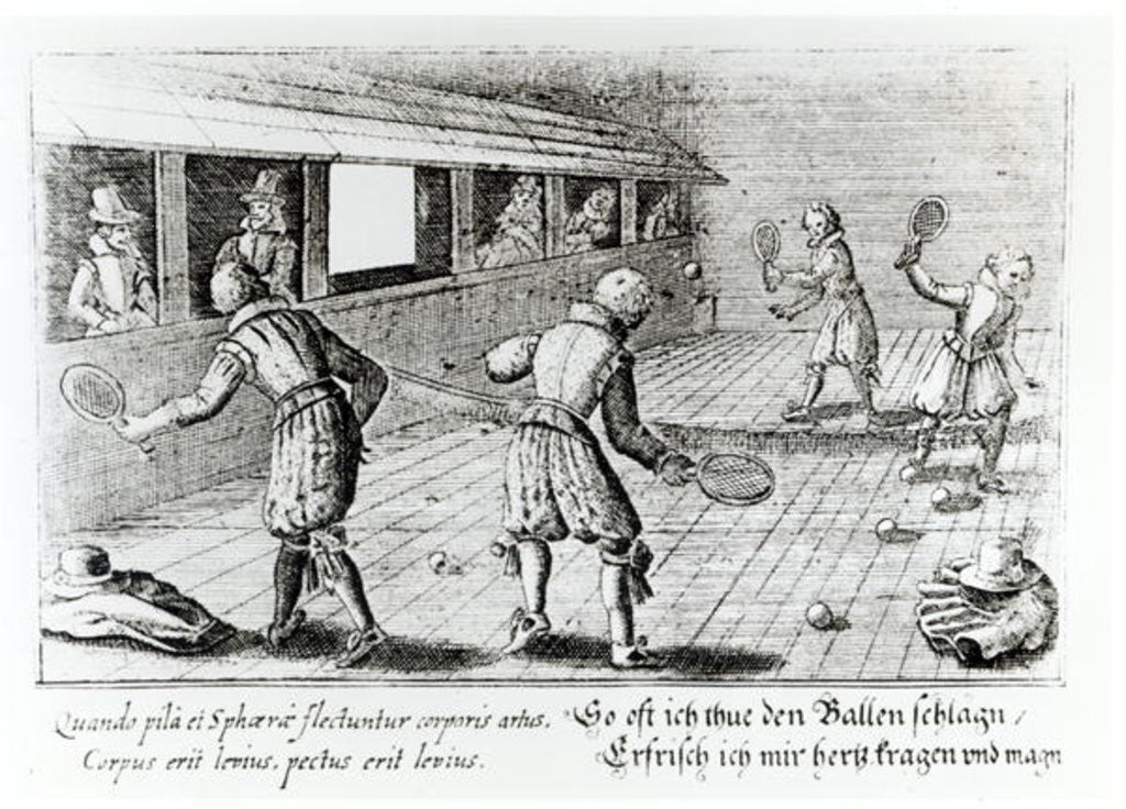 Detail of A Game of Real Tennis with Sport Ballads below by English School