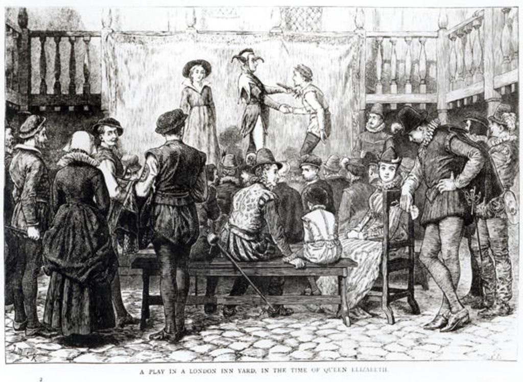 Detail of A Play in a London Inn Yard in the Time of Queen Elizabeth by English School