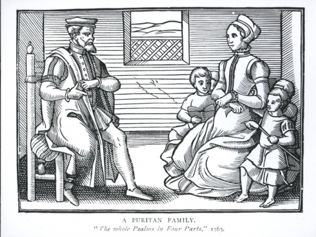 Detail of A Puritan Family by English School