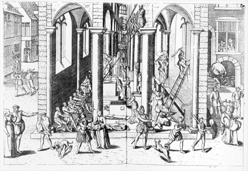 Detail of Calvinists destroying statues in the Catholic Churches by Flemish School