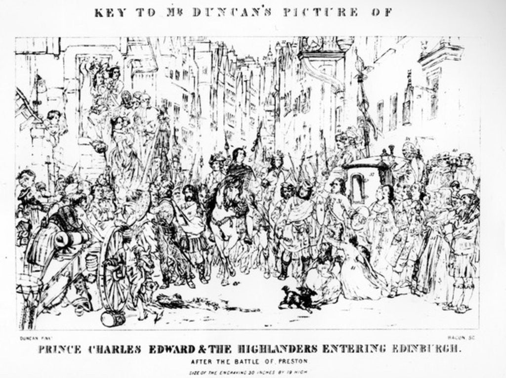 Detail of Key to Mr Duncan's Picture of Prince Charles Edward and the Highlanders Entering Edinburgh after the Battle of Preston by Thomas Duncan