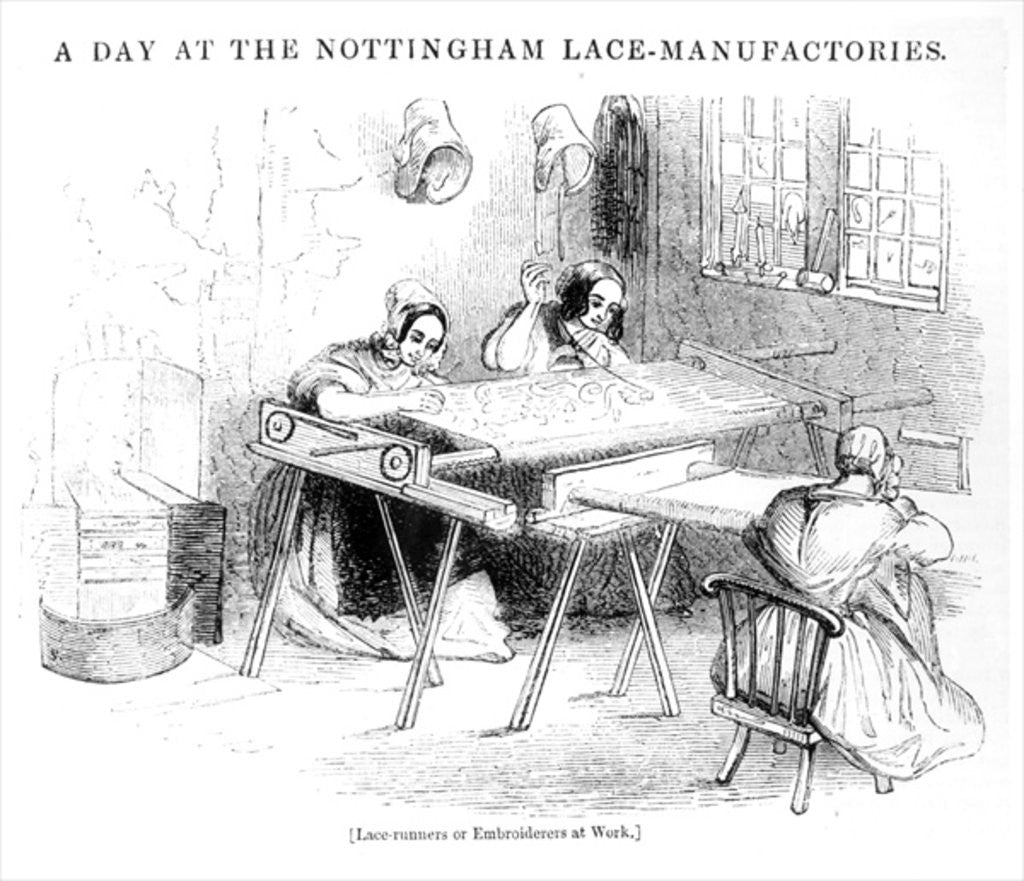 Detail of A Day at the Nottingham Lace Manufacturers by English School