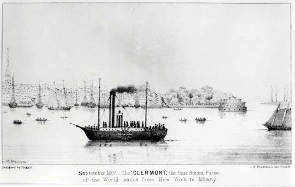 Detail of The 'Clermont', the first Steam Packet, sailing from New York to Albany in September 1807 by J.H. Sherwin