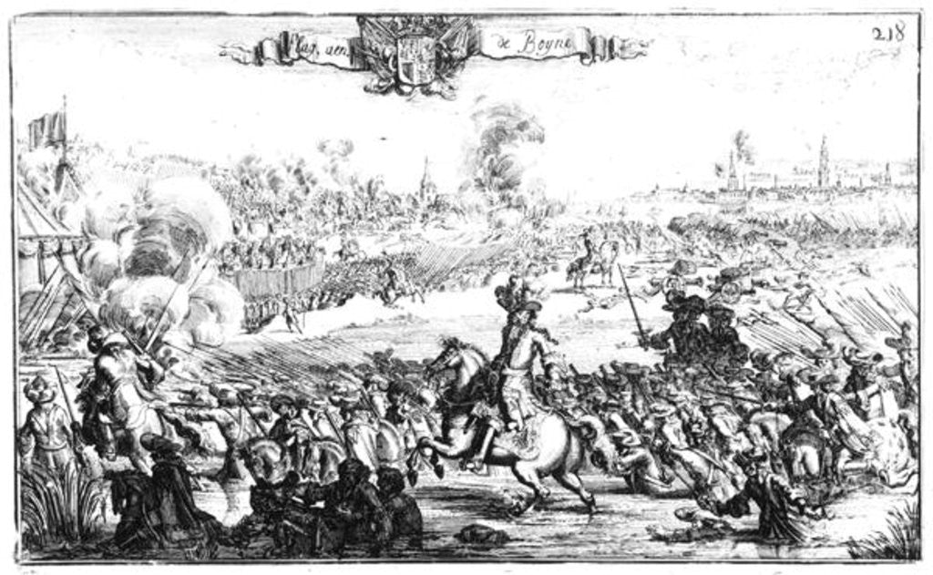 The Battle of the Boyne, July 1st 1690 by French School