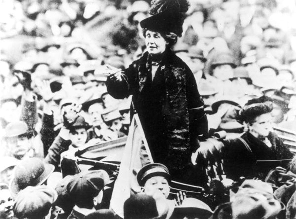 Detail of Mrs Emmeline Pankhurst Addressing a Crowd in New York by English Photographer