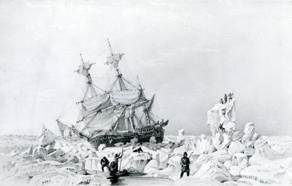 Detail of HMS Terror held on ice by English School
