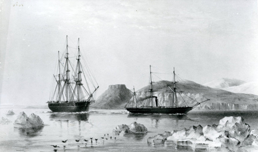 Detail of HMS Assistance in Tow of Pioneer passing John Harrow Mount, North Wellington Channel in 1853 by English School