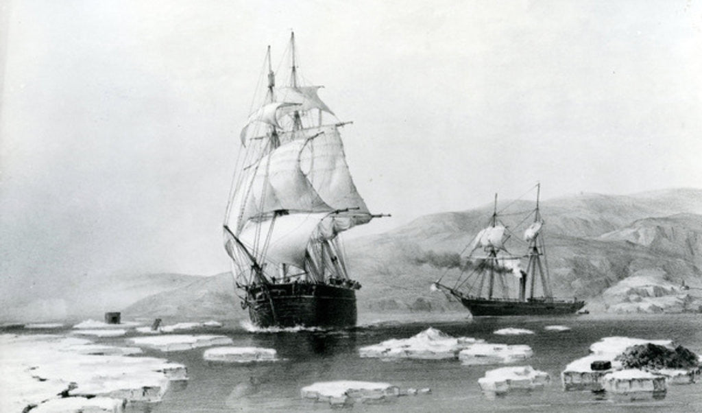 Detail of HMS Assistance and Pioneer breaking out of Winter quarters in 1854 by English School