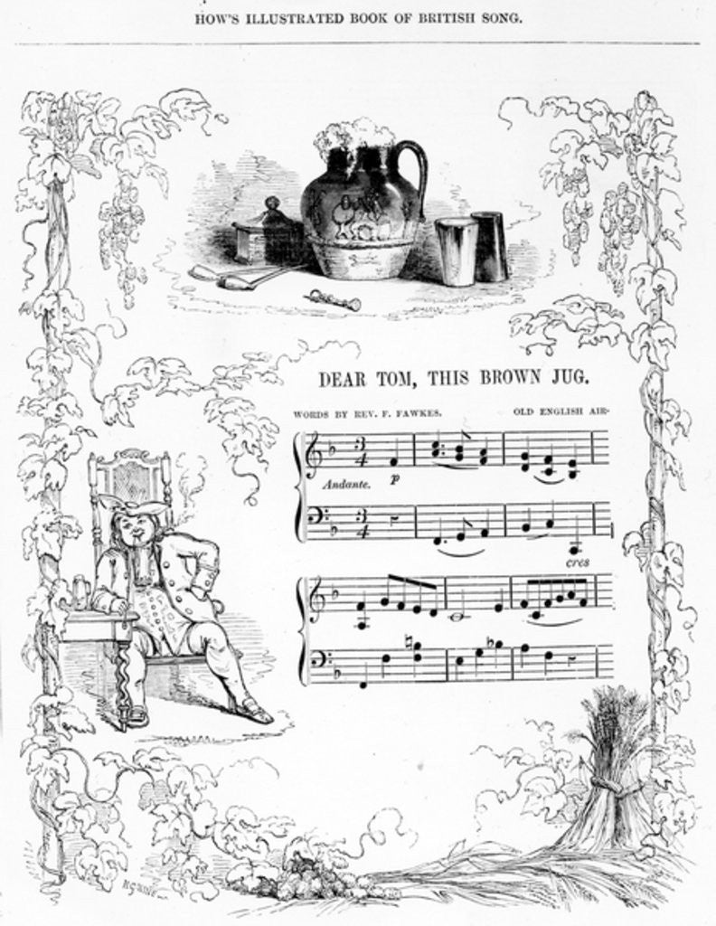 Detail of Dear Tom, This Brown Jug that now foams with mild ale..., song sheet from How's illustrated Book of British song by English School