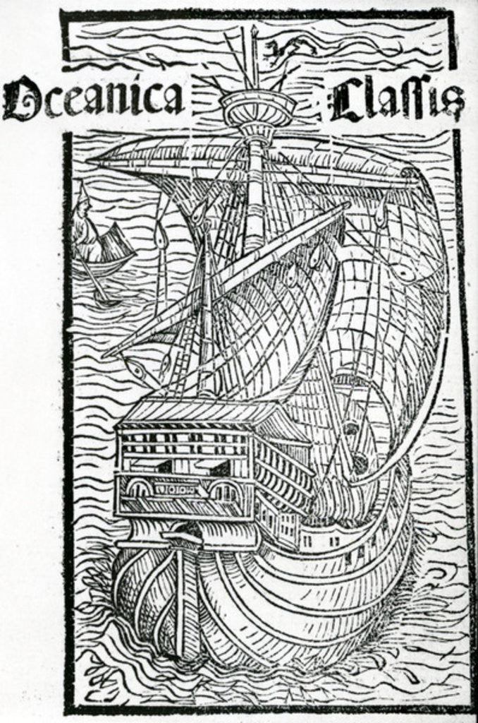 Detail of Drawing of the Santa Maria by Christopher Columbus
