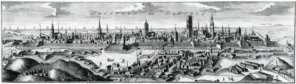 Detail of Panoramic view of Danzig (Gdansk) by German School