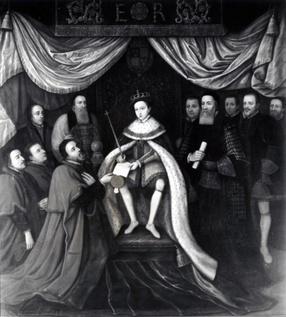 Detail of Edward VI Granting the Charter to Bridewell and Bethlehem Hospitals in 1553 by English School