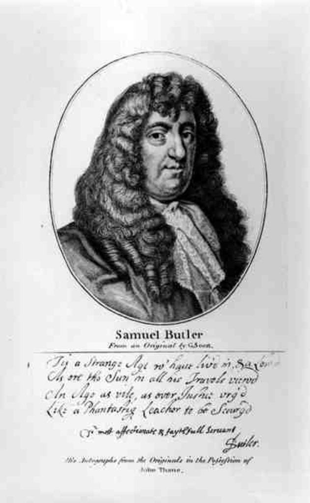 Detail of Portrait of Samuel Butler with an sample of his handwriting by Gerard Soest