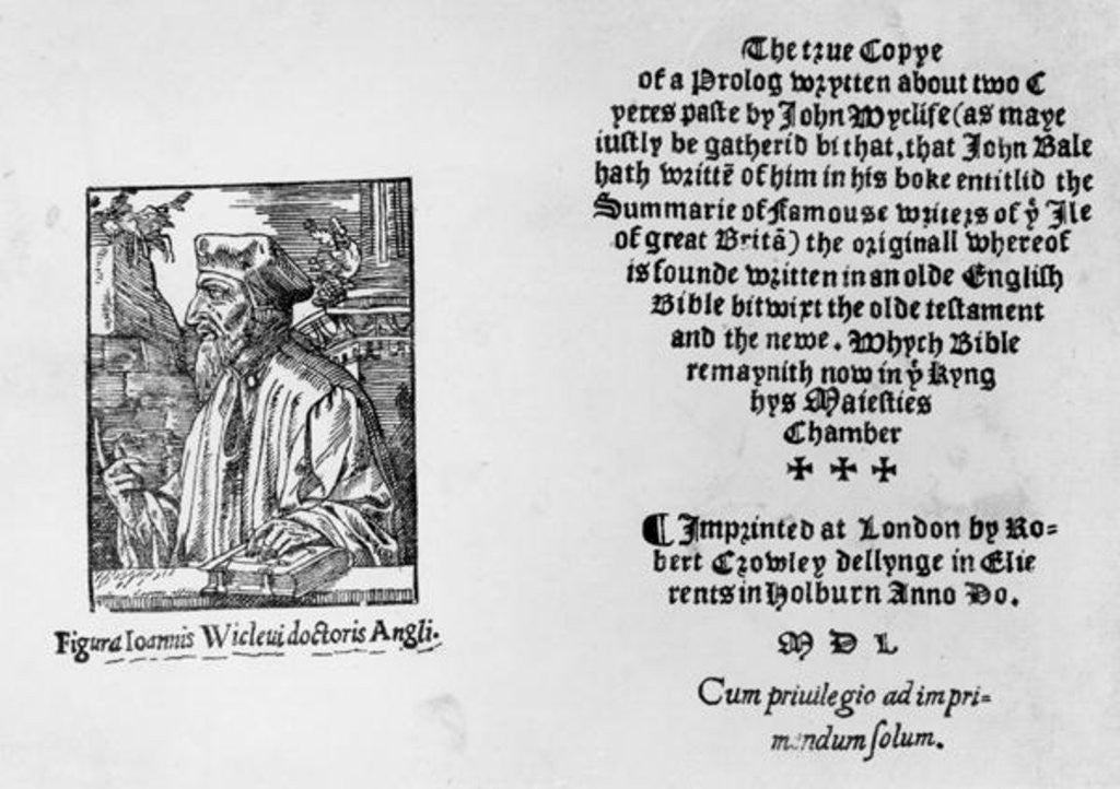Detail of Frontispiece of 'The Summarie of Famouse Writers of the Ile of Great Brita' depicting John Wycliffe by English School
