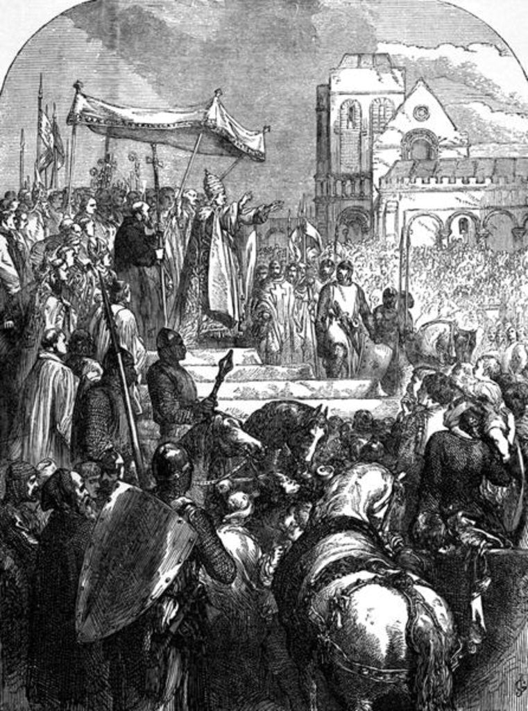 Detail of Pope Urban II Preaching the First Crusade in the Market Place of Clermont in 1095 by English School
